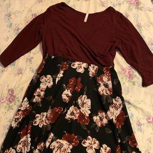 Botanical Brunch A-Line Dress in Merlot Blooms